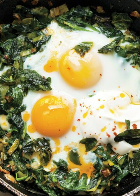 Wilted Spinach & Eggs